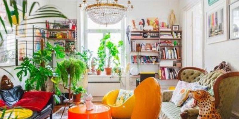 salon con decoracion estilo kistch